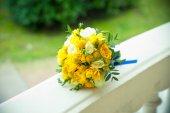Yellow wedding bouquet — Stock Photo