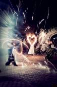Night fire show at the wedding — Stock Photo