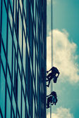 High-altitude work on a skyscraper — Stock Photo