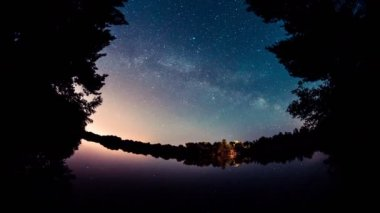 4K Time Lapse. Night Sky and Milky Way Galaxy on water. — Stock Video