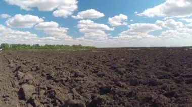 Landscape with plowed field — Stock Video