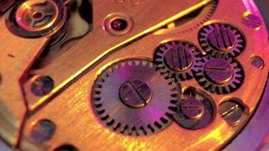 Vintage watch machinery macro detail — Stock Video
