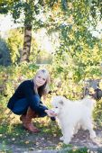 Woman with dog — Foto de Stock