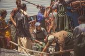 Fishermen at boat — Stock Photo