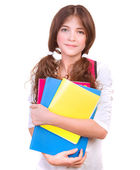 Cute schoolgirl with colorful books — Stock Photo