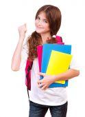 Happy cheerful schoolgirl  — Stock Photo