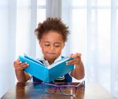 Little schoolboy read book — Stock Photo