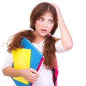 Confused school girl — Stock Photo
