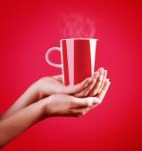 Red cup of coffee — Stock Photo