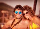 Happy couple on the yacht — Stock Photo