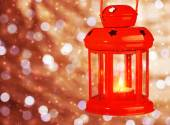Red antique Christmas lamp — Stock Photo