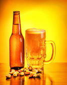 Bottle of beer and nuts — Stock Photo