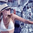 Sexy woman on the yacht — Stock Photo