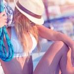 Young sexy sailor girl — Stockfoto