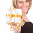 Cheerful female with gift box — Stock Photo #59559937
