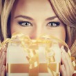 Sexy woman with Christmas gift — Stock Photo #59560035