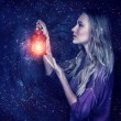 Beautiful woman with magic lantern — Stock Photo #60092961