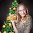 Cute female near Christmas tree — Stock Photo #60481355