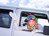 Happy girl enjoying winter sports — Stock Photo