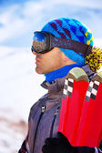 Handsome man enjoys ski resort — Foto Stock