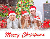 Happy family at home on Christmas — Stock Photo