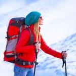Happy girl palying ski — Stock Photo #61040595