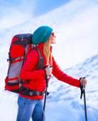Happy girl palying ski — Stock Photo