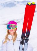 Sportive woman with ski — Stock Photo