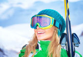 Portrait of skier girl — Stock Photo