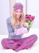 Cute female receive gift — Stock Photo