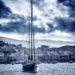 Beautiful sailboat on the sea in storm — Stock Photo #63011489