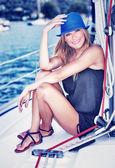 Relaxation on luxury sailboat — Stock Photo