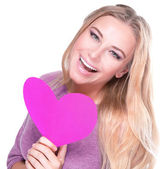Cheerful female with pink heart — Foto de Stock