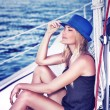 Relaxed girl on sailboat — Stock Photo #69938423