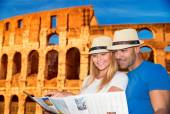 Active young family in Rome — Stock Photo