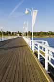 Pier made of wood in Jurata in Poland — Stock Photo