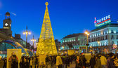 MADRID,SPAIN - DECEMBER 18: The famous Puerta del Sol crowded sh — Stock Photo
