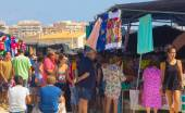 Murcia, Spain August 23, 2014: Market Street typical crowded sum — Stock Photo