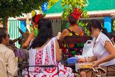 ANDUJAR,SPAIN - September, 6: Women typical Sevillian flamenca s — Stock Photo