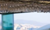 Crystal glasses adorning the roof of a cafe — Stock Photo