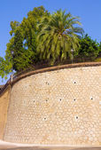 Famous outer wall of the palace of the Alcazaba in Malaga Spain — Stock Photo