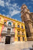 Cathedral Square and the episcopal palace in Malaga, Spain — Stok fotoğraf