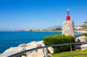 Lighthouse entrance to the pier of Puerto Banus, Malaga Spain — Stock Photo