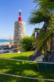 Lighthouse entrance to the pier of Puerto Banus, Malaga Spain — Foto Stock