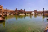 Pond of the famous Plaza of Spain in Seville, Spain — Stock Photo