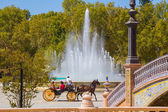 Ornamental fountain in the famous Plaza of Spain in Seville, Spa — Stock Photo