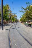 Tram rails in the city of Seville, Spain — Stockfoto