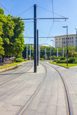 Tram rails in the city of Seville, Spain — Stock Photo