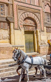 Horses to an old side gateway to the Great Mosque of Cordoba, Sp — Stockfoto