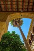 Wewnętrzny dziedziniec z kolumnami i łukami słynny Meczet — Zdjęcie stockowe